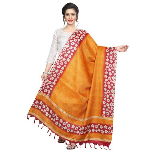 Fantastic Mustard Yellow Colored Festive Wear Printed Khadi Silk Dupatta