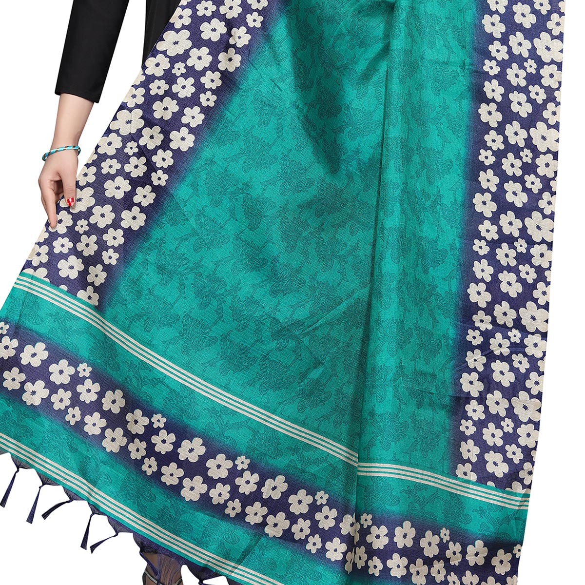 Amazing Rama Green Colored Festive Wear Printed Khadi Silk Dupatta