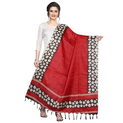 Gorgeous Red Colored Festive Wear Printed Khadi Silk Dupatta