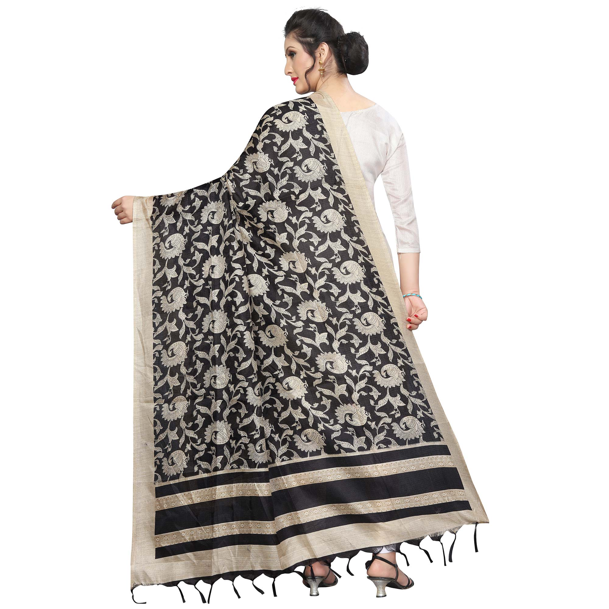 Blissful Black Colored Festive Wear Printed Khadi Silk Dupatta