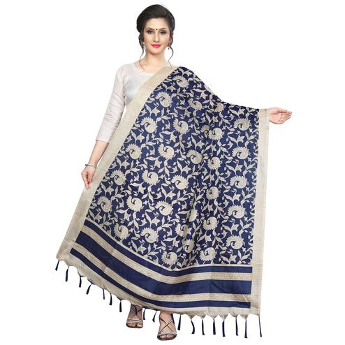 Ideal Navy Blue Colored Festive Wear Printed Khadi Silk Dupatta