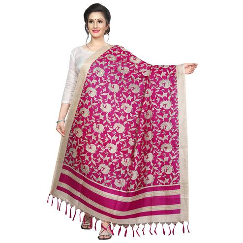 Imposing Pink Colored Festive Wear Printed Khadi Silk Dupatta