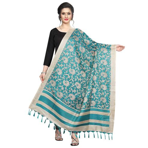 Lovely Rama Green Colored Festive Wear Printed Khadi Silk Dupatta