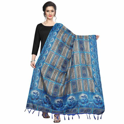 Majesty Blue Colored Festive Wear Printed Khadi Silk Dupatta