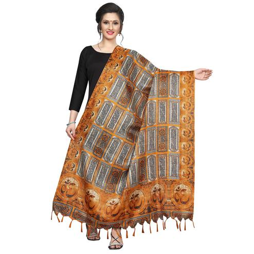 Impressive Mustard Yellow Colored Festive Wear Printed Khadi Silk Dupatta