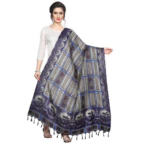 Mesmerising Navy Blue Colored Festive Wear Printed Khadi Silk Dupatta