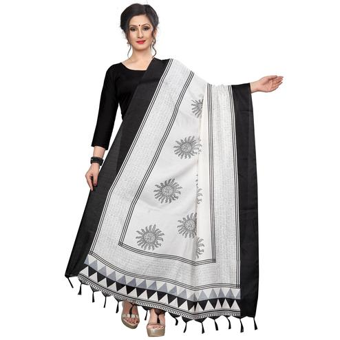 Breathtaking White-Black Colored Festive Wear Printed Khadi Silk Dupatta