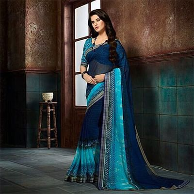 Stylish Navy Blue Printed Casual Wear Marble Georgette Saree