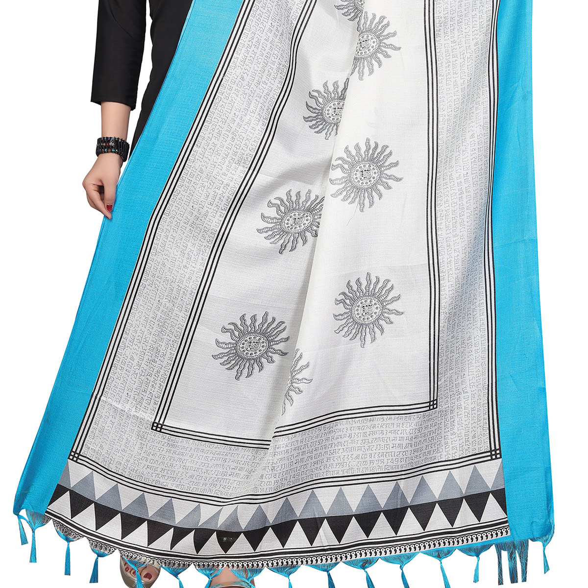 Ethnic White-Blue Colored Festive Wear Printed Khadi Silk Dupatta