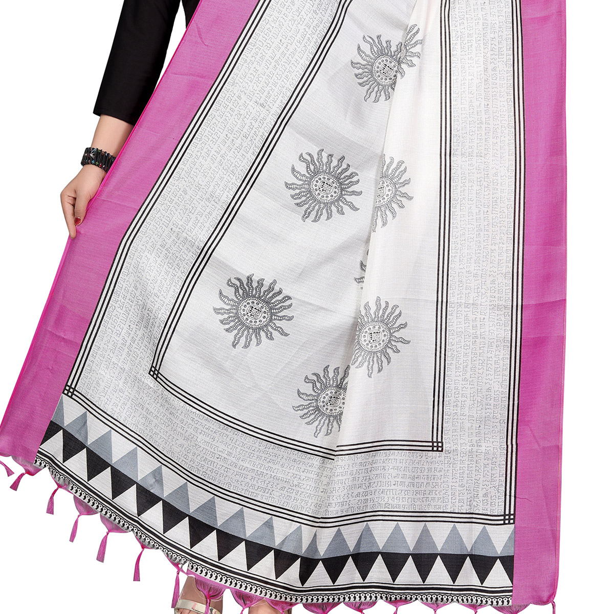 Ravishing White-Pink Colored Festive Wear Printed Khadi Silk Dupatta
