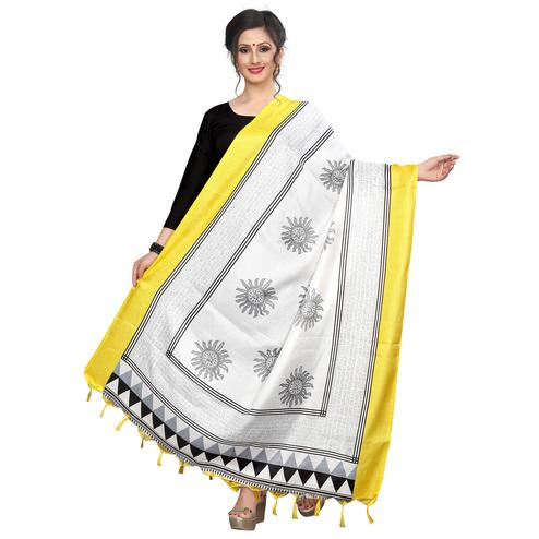 Staring White-Yellow Colored Festive Wear Printed Khadi Silk Dupatta