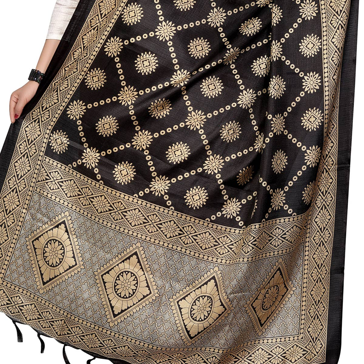 Dazzling Black Colored Festive Wear Printed Khadi Silk Dupatta