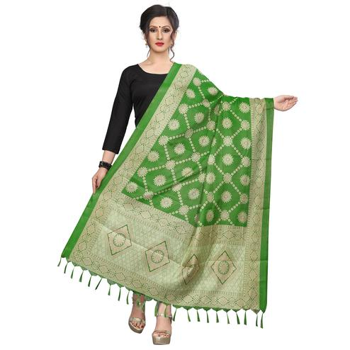 Surpassing Green Colored Festive Wear Printed Khadi Silk Dupatta