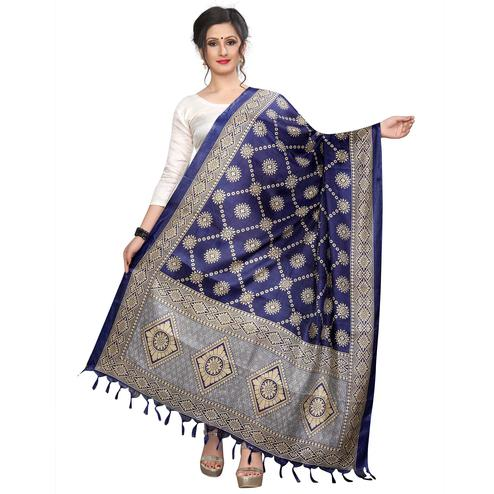 Intricate Navy Blue Colored Festive Wear Printed Khadi Silk Dupatta