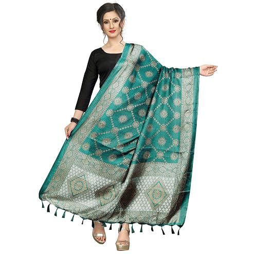 Desirable Rama Green Colored Festive Wear Printed Khadi Silk Dupatta