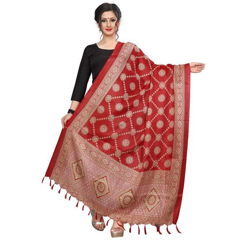 Sophisticated Red Colored Festive Wear Printed Khadi Silk Dupatta