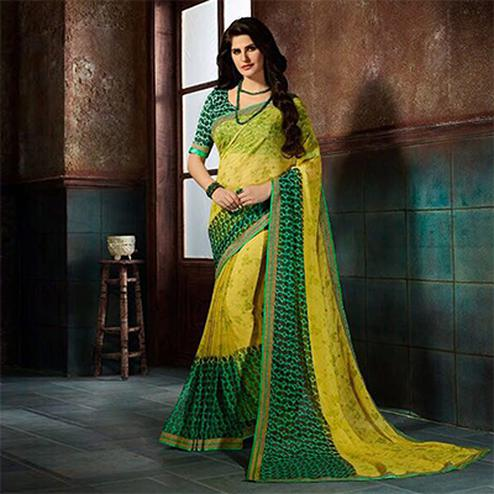 Trendy Yellow-Green Printed Casual Wear Marble Georgette Saree
