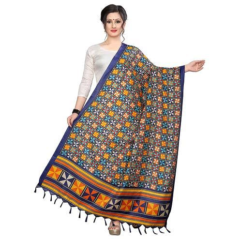 Elegant Blue Colored Festive Wear Printed Khadi Silk Dupatta
