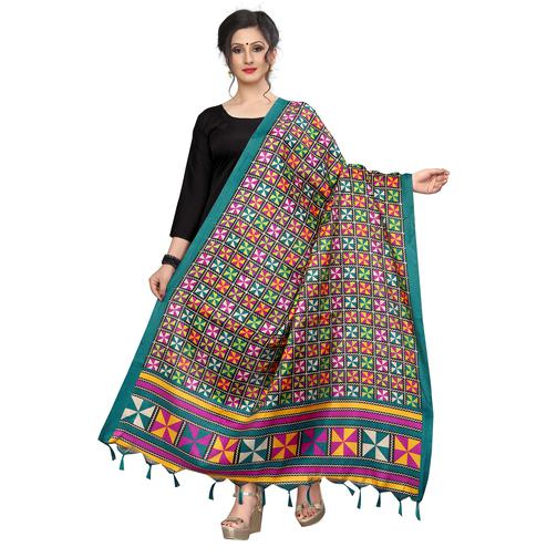 Radiant Rama Green Colored Festive Wear Printed Khadi Silk Dupatta