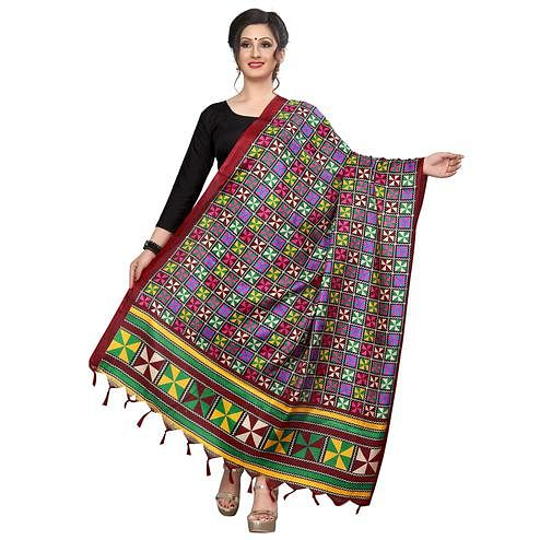 Pleasant Red Colored Festive Wear Printed Khadi Silk Dupatta