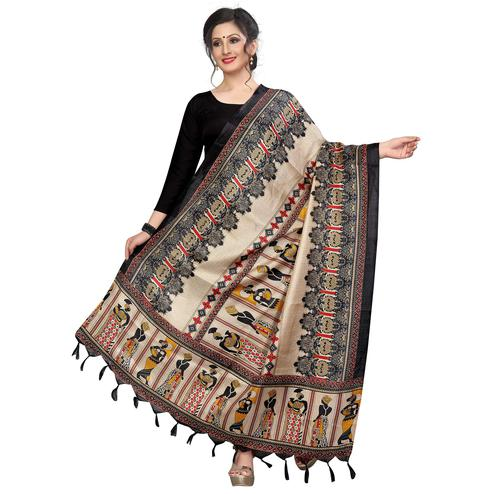 Opulent Black Colored Festive Wear Printed Khadi Silk Dupatta