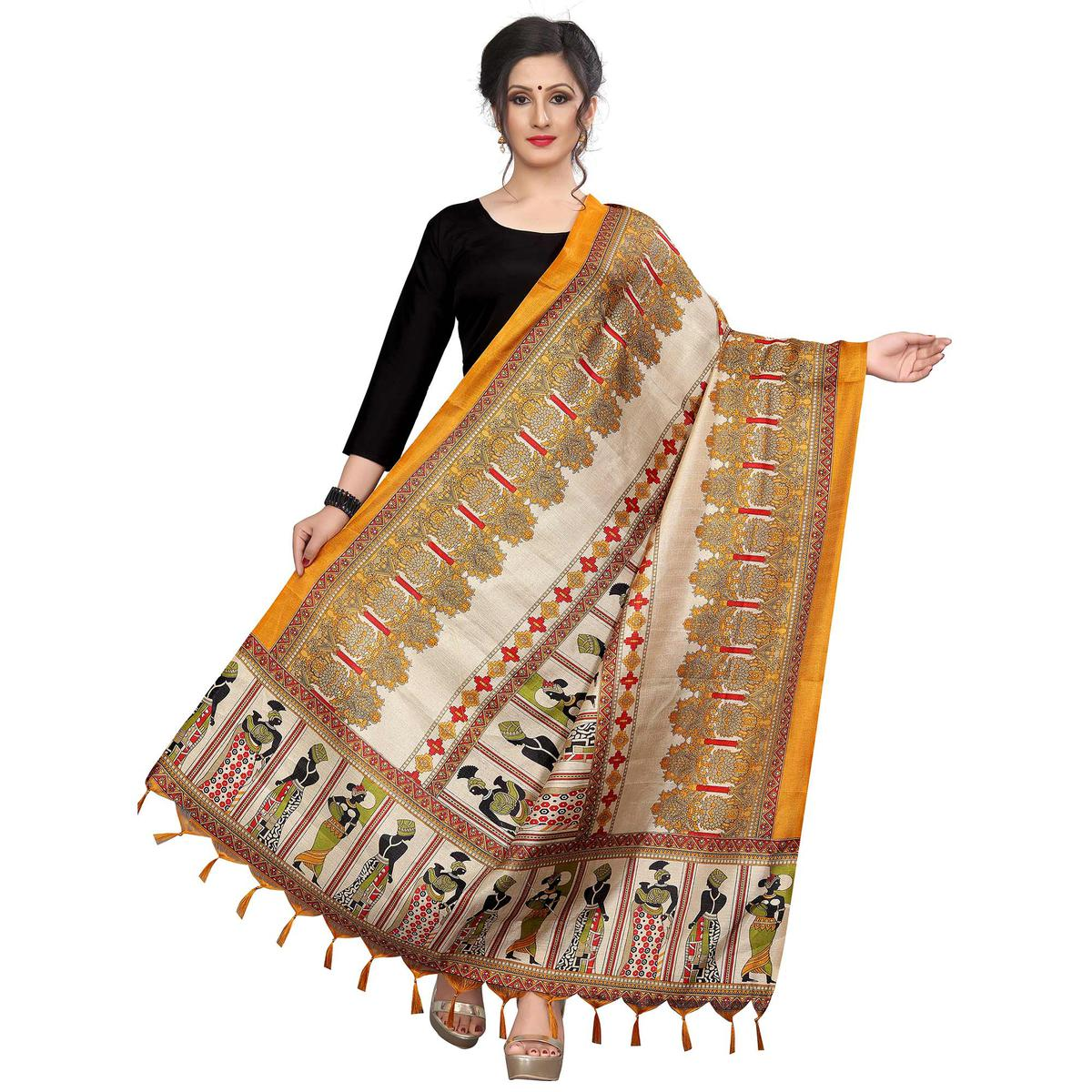 Energetic Mustard Yellow Colored Festive Wear Printed Khadi Silk Dupatta