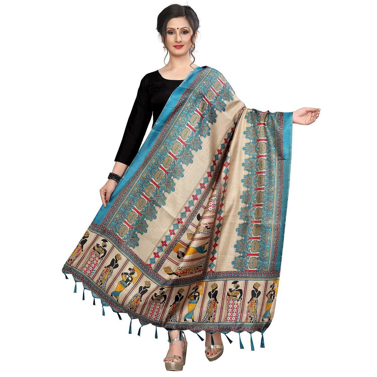 Glowing Rama Green Colored Festive Wear Printed Khadi Silk Dupatta