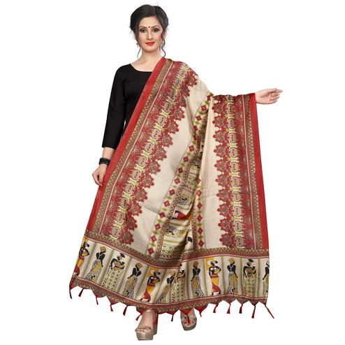 Exceptional Red Colored Festive Wear Printed Khadi Silk Dupatta