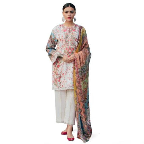 Magnetic White Colored Partywear Printed Cotton Suit