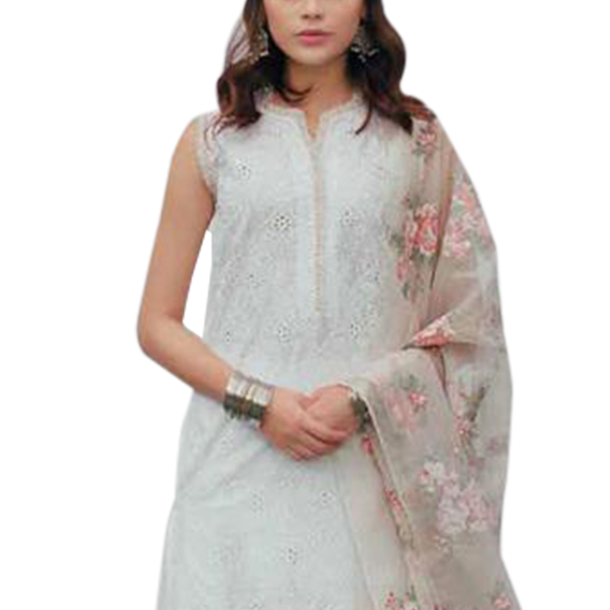 Flattering White Colored Partywear embroidered Cotton Palazzo Suit