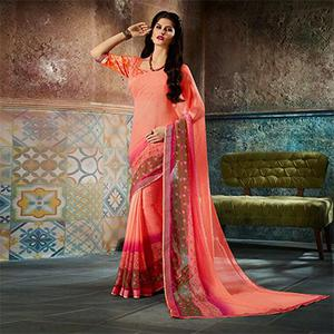 Classy Peach Printed Casual Wear Marble Georgette Saree