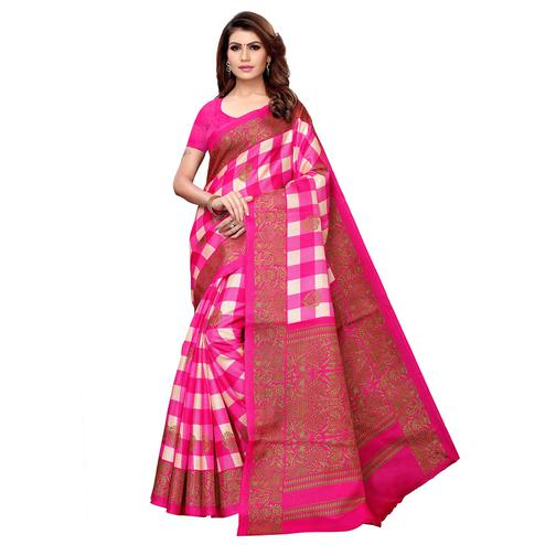 Lovely Pink Colored Casual Printed Khadi Silk Saree