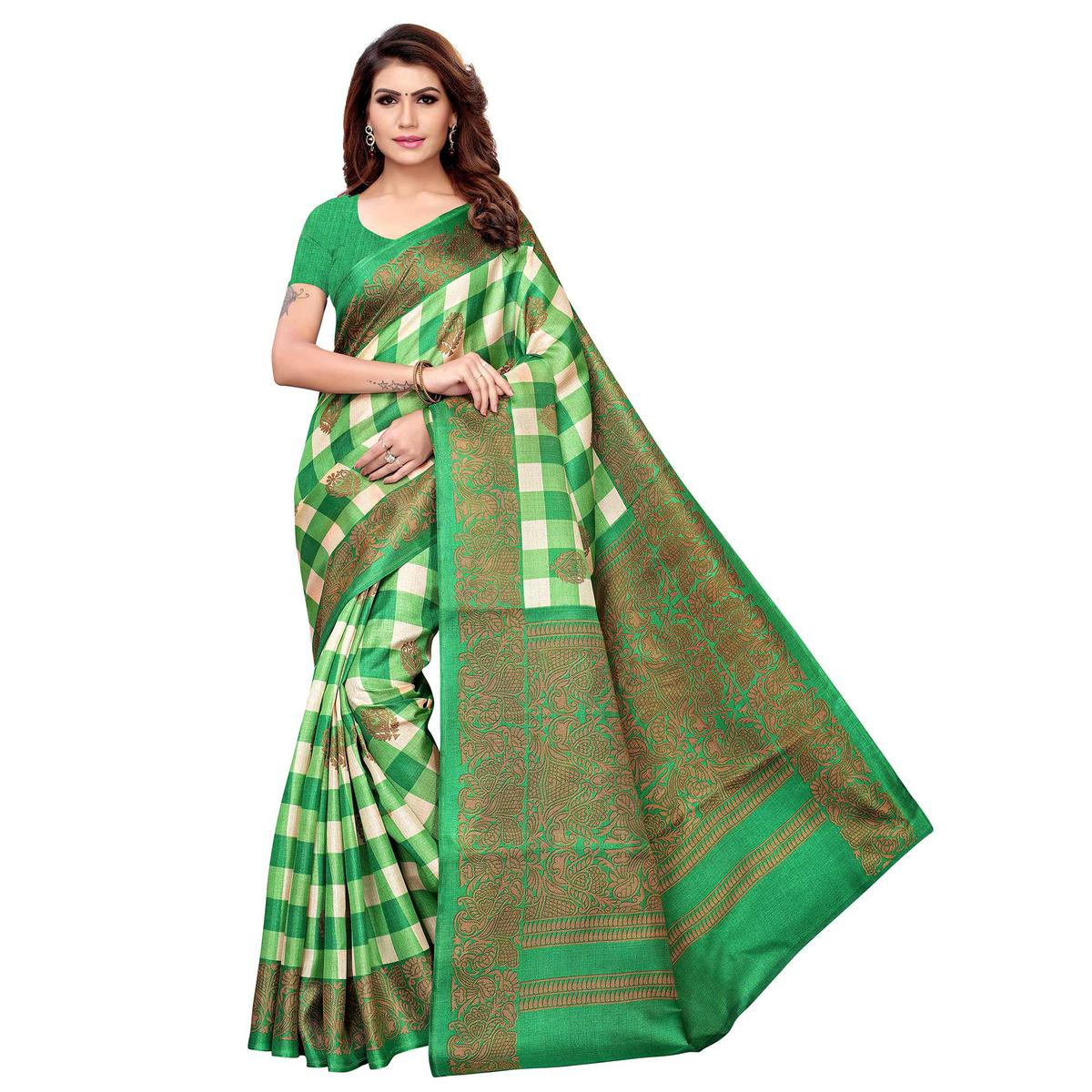 Beautiful Green Colored Casual Printed Khadi Silk Saree