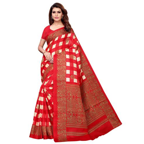 Classy Red Colored Casual Printed Khadi Silk Saree