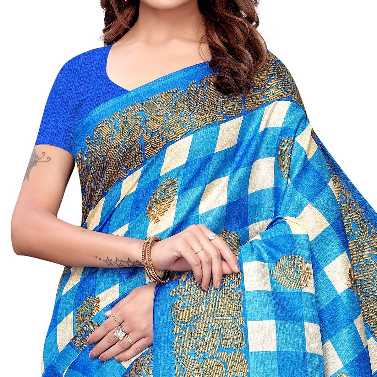 Trendy Blue Colored Casual Printed Khadi Silk Saree