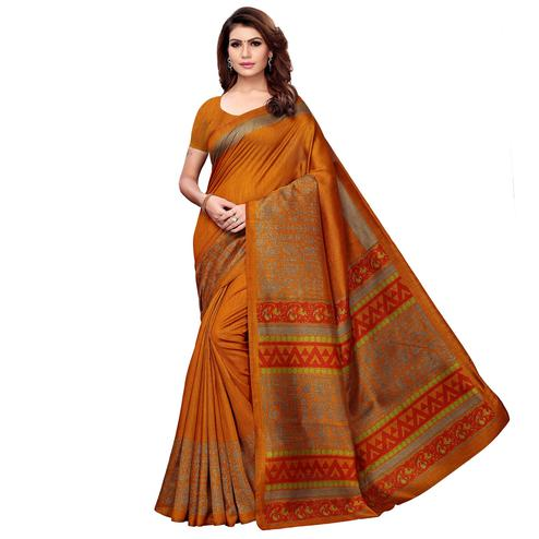 Special Orange Colored Casual Printed Kashmiri Silk Saree