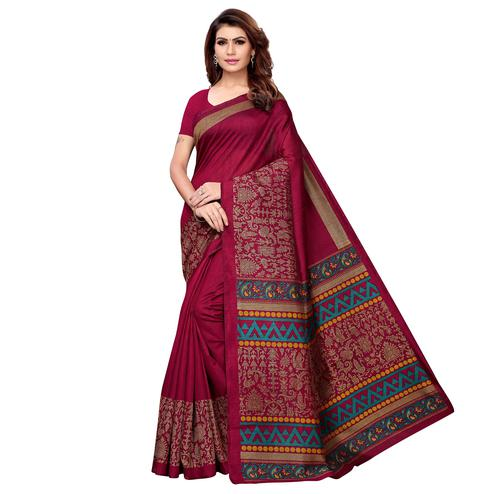 Impressive Magenta Pink Colored Casual Printed Kashmiri Silk Saree