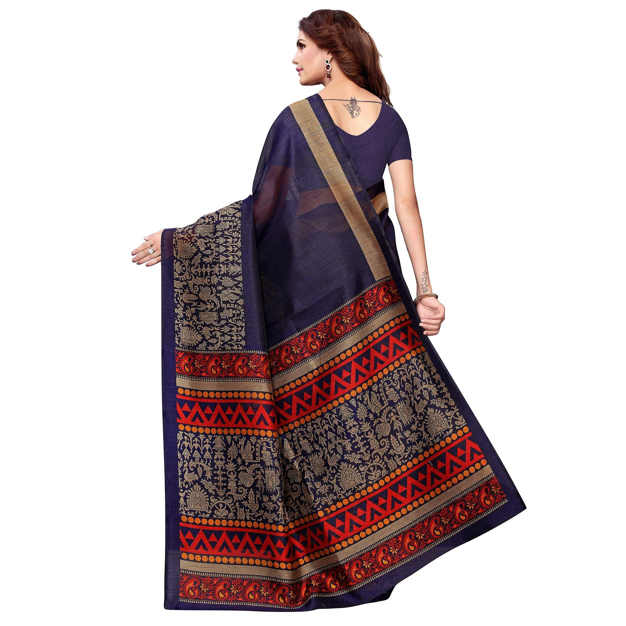 Appealing Navy Blue Colored Casual Printed Kashmiri Silk Saree