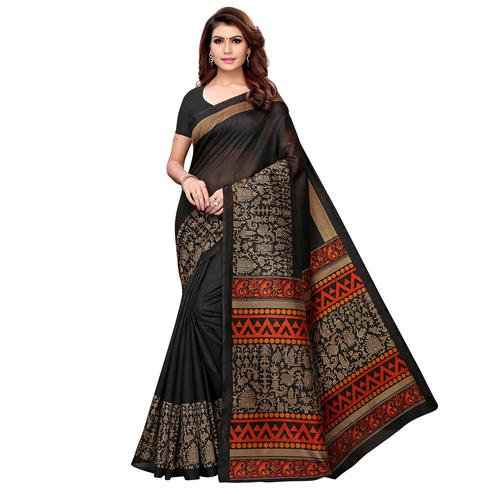 Demanding Black Colored Casual Printed Kashmiri Silk Saree