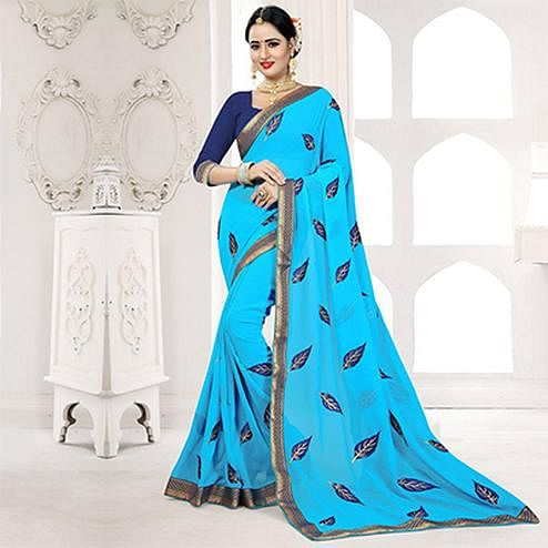 Rama Colored Embroidered Partywear Georgette Saree