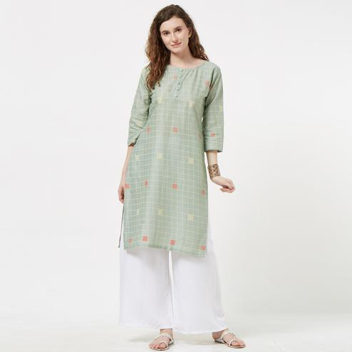 Delightful Pastel Green Colored Casual Printed Cotton Kurti