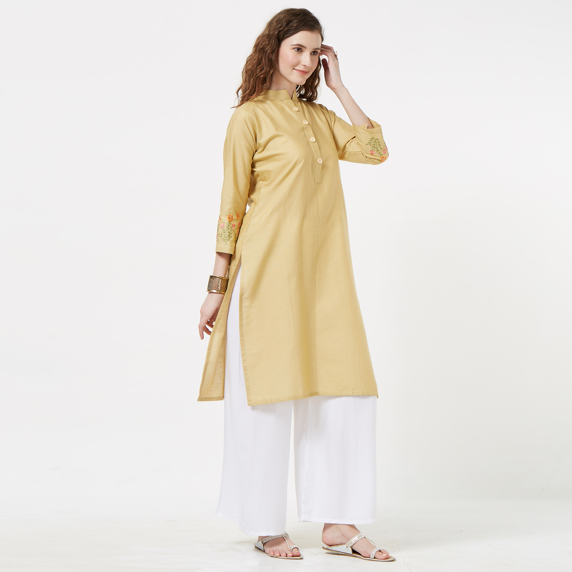 Innovative Beige Colored Casual Embroidered Cotton Kurti