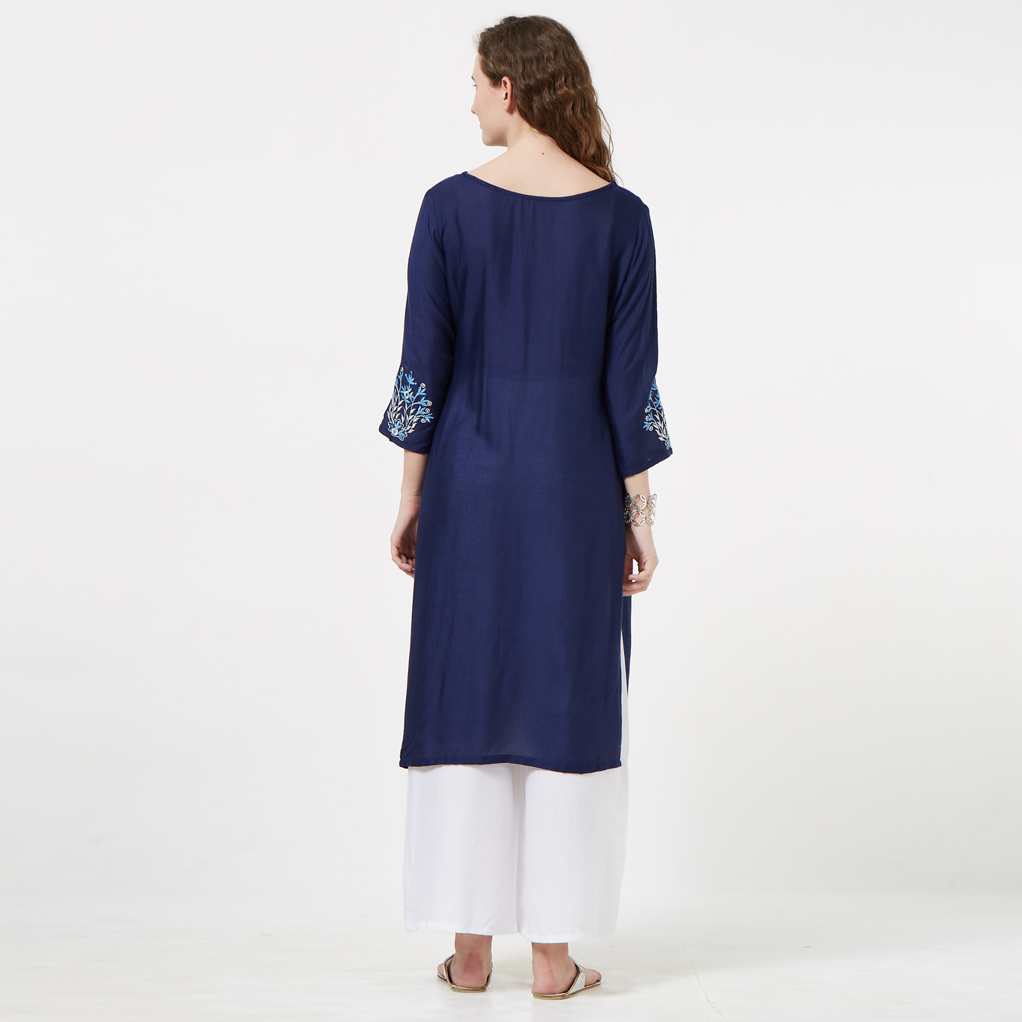 Gorgeous Navy Blue Colored Casual Embroidered Rayon Kurti