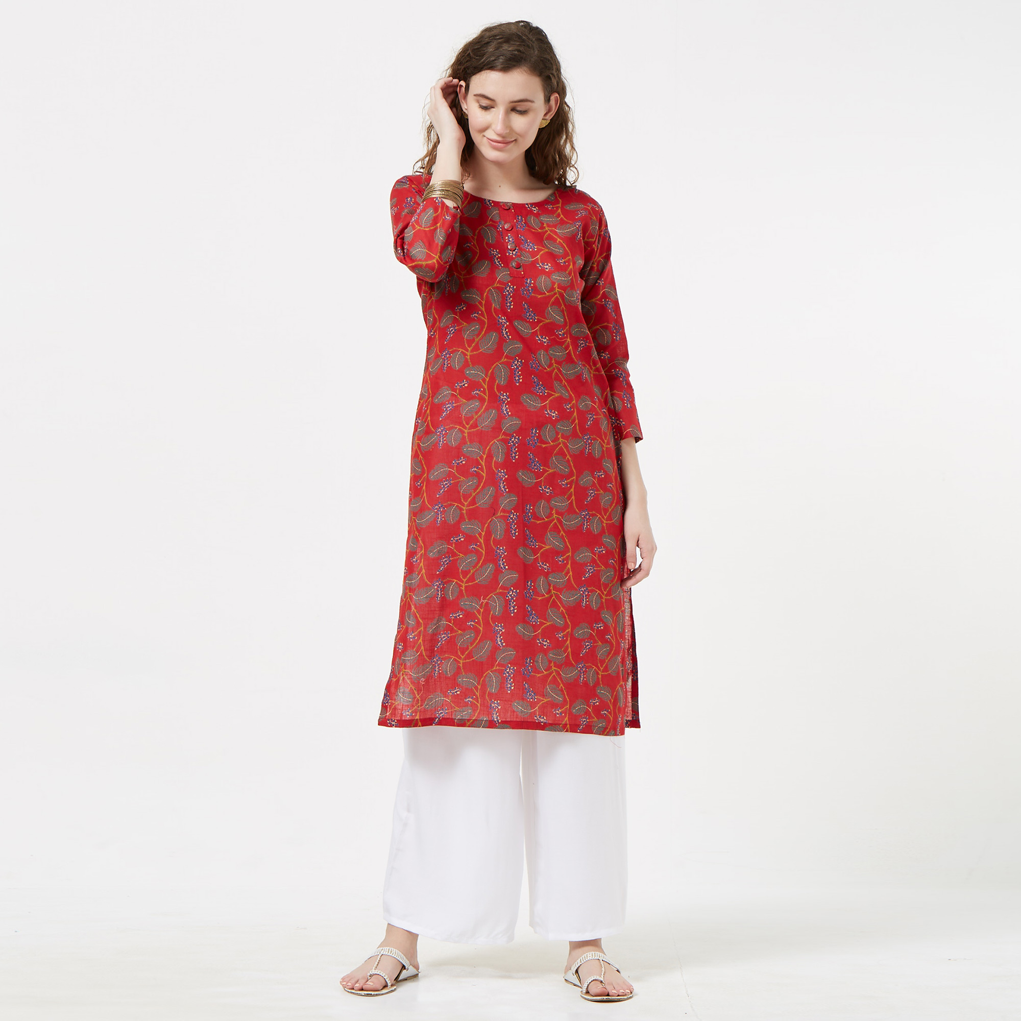 Blissful Red Colored Casual Printed Cotton Kurti