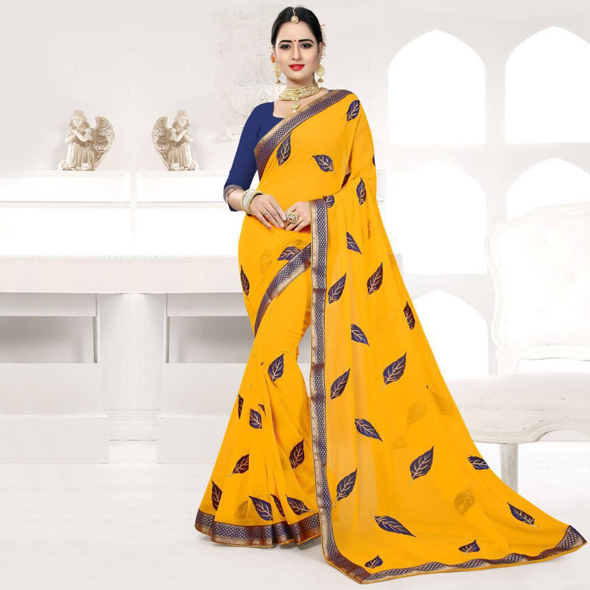 Mustard Colored Embroidered Partywear Georgette Saree