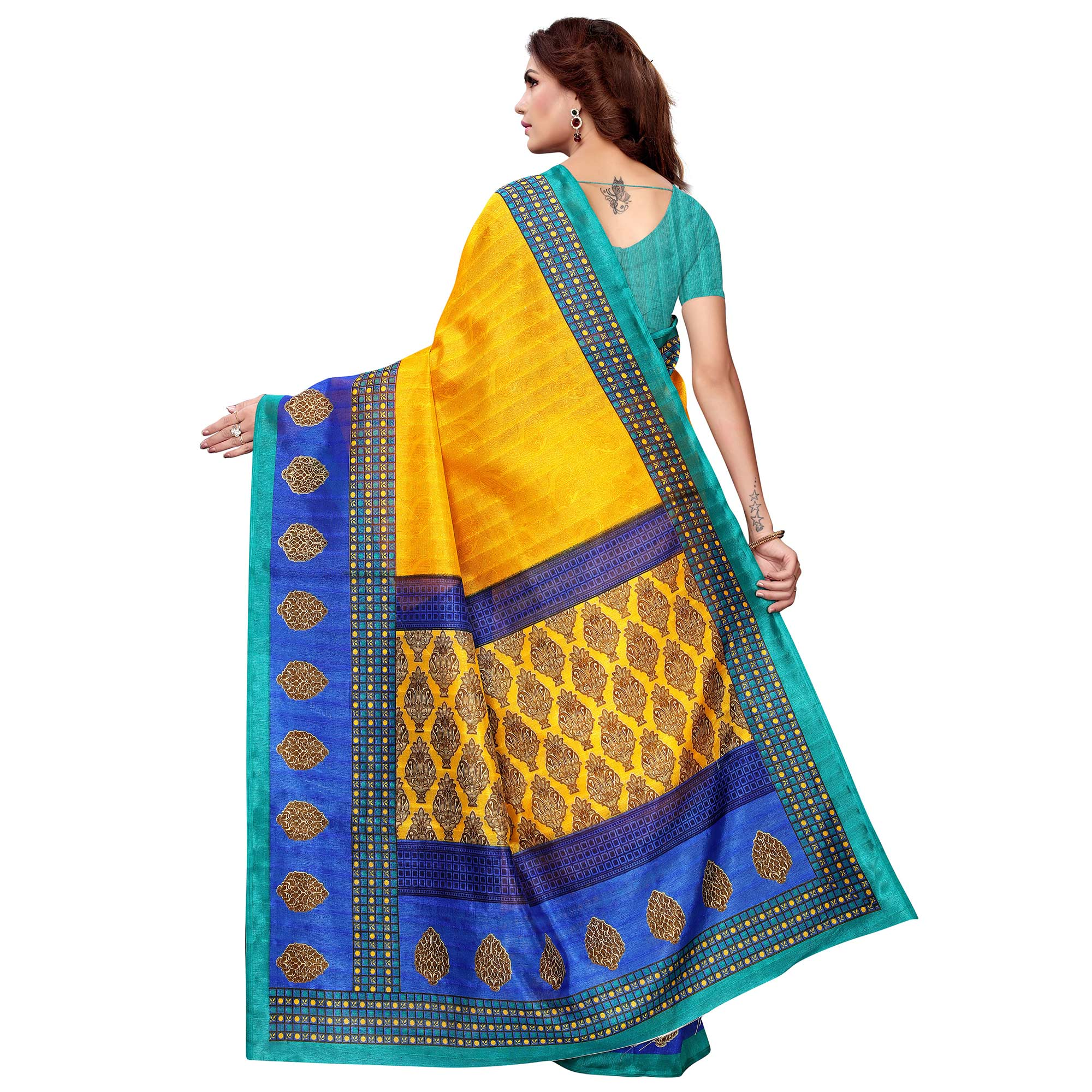 Sophisticated Yellow Colored Casual Printed Bhagalpuri Silk Saree