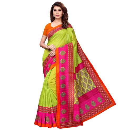 Desirable Green Colored Casual Printed Bhagalpuri Silk Saree