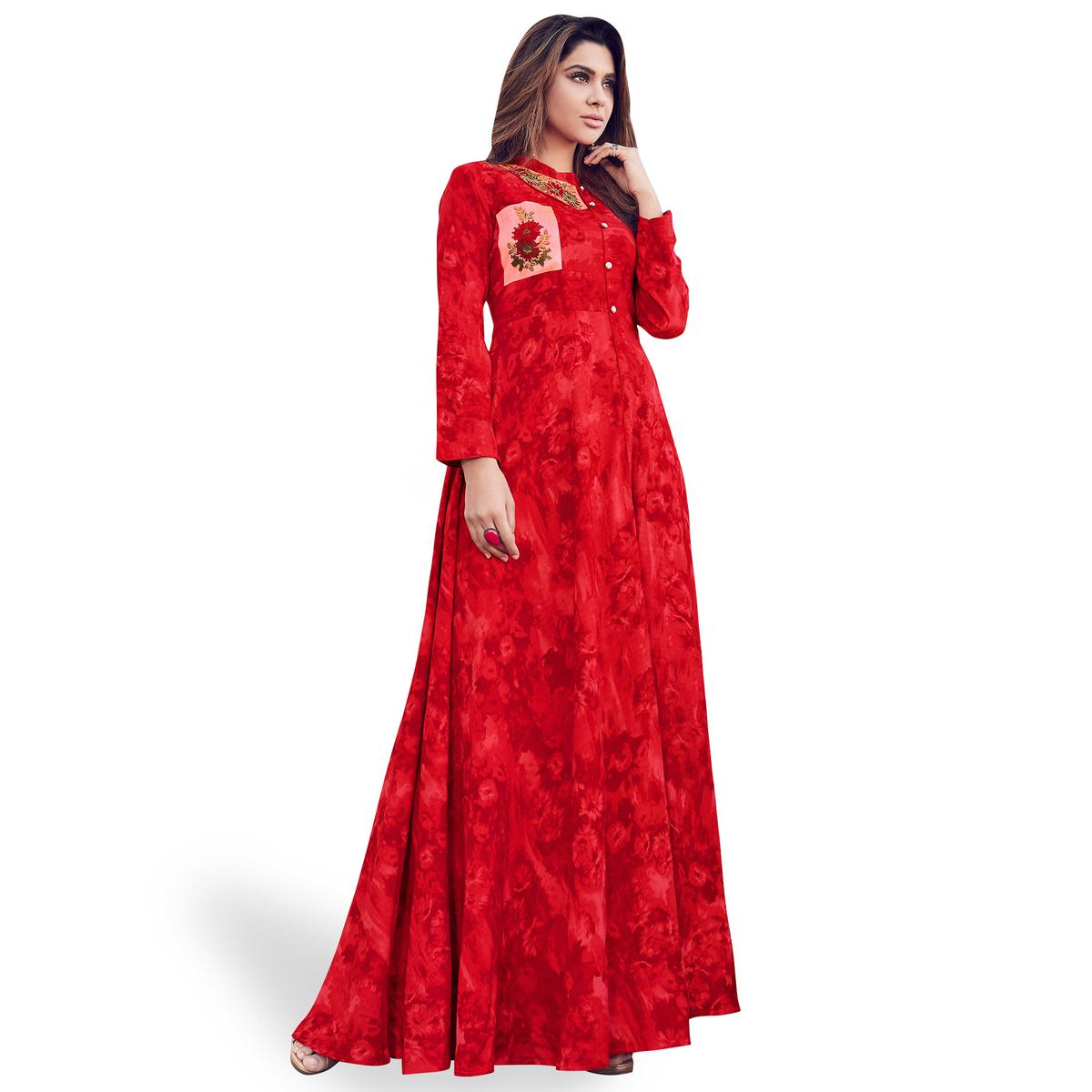 Mesmeric Red Colored Partywear Printed Rayon Gown