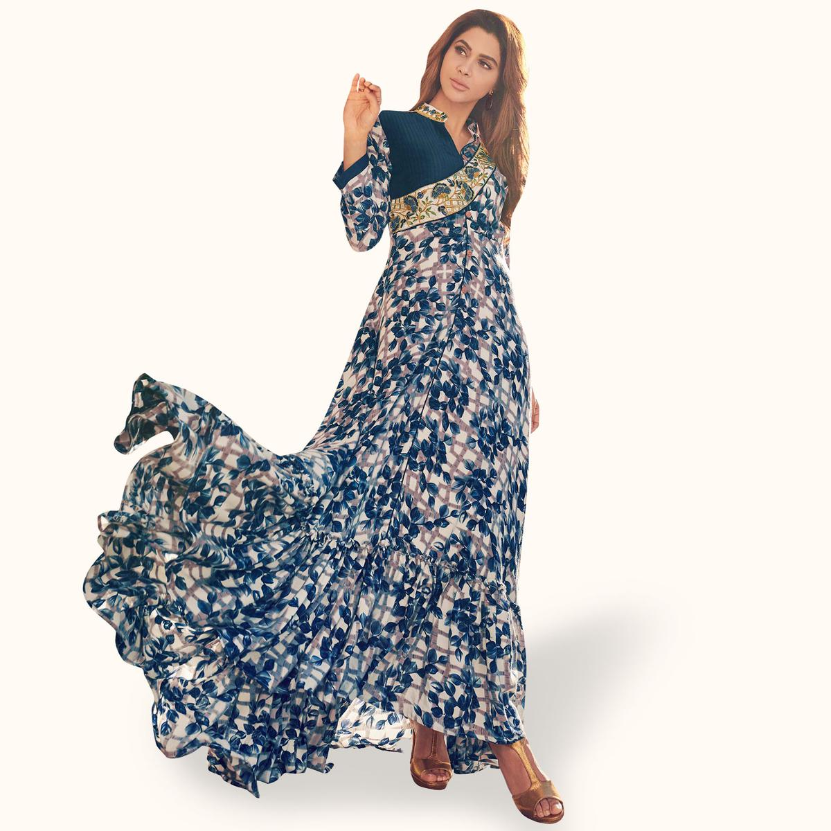 Unique Blue Colored Partywear Printed Rayon Gown
