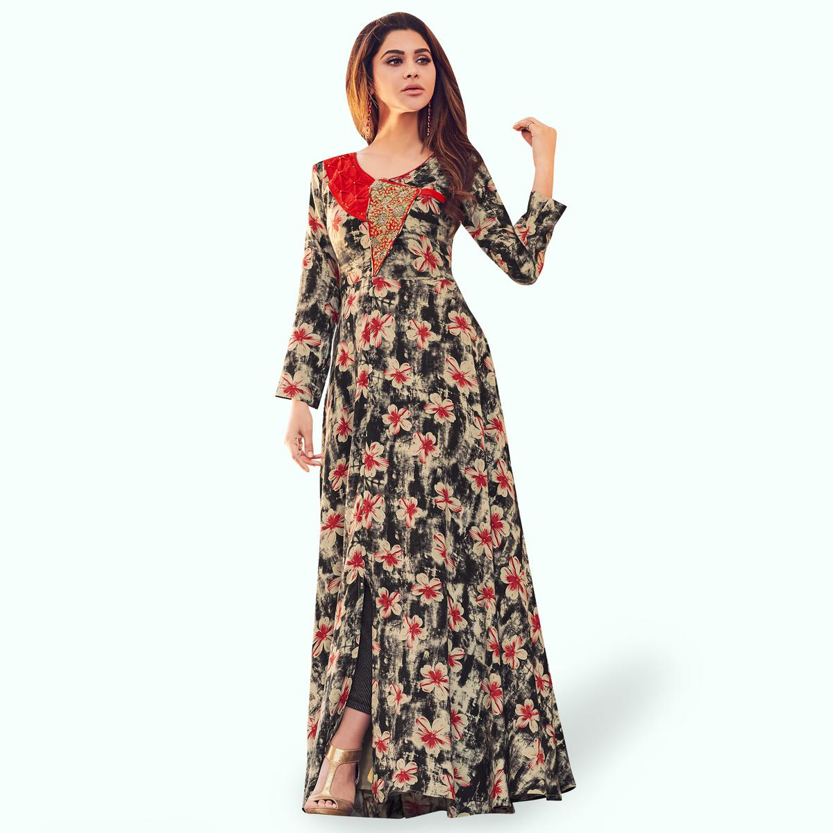 Demanding Beige-Black Colored Partywear Printed Rayon Gown